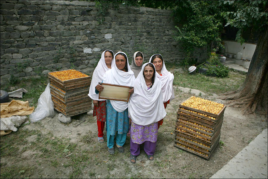 Beneficiaries of the honey production project stand as they show a bee hive in their house in Gilgit.