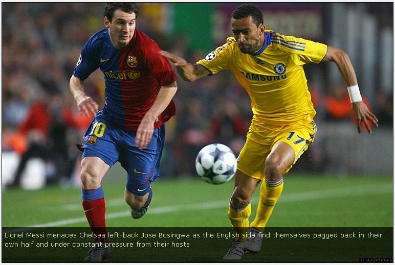 Bosingwa gets beaten by Messi for pace