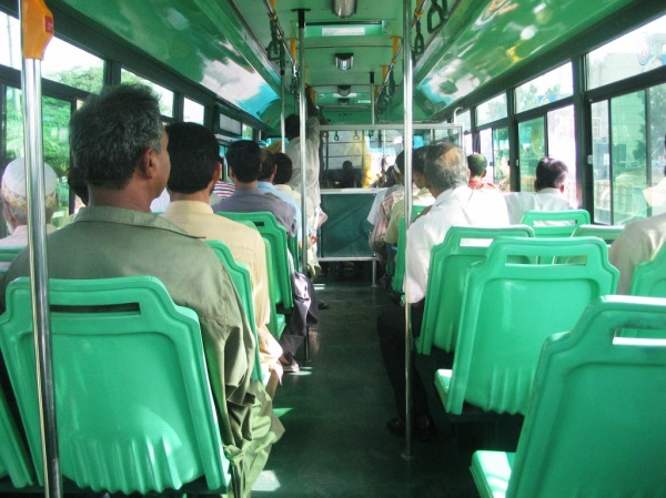 Not a lot of rush - but this is around 4pm. At 7 the same bus is jam packed.