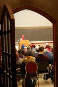 Dr. Ingrid Mattson addresses the audience at the launch of the Emmanuel College's Muslim prayer room